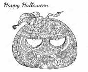 halloween adulte zen citrouille dessin à colorier