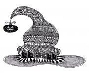 halloween adulte chapeau de sorciere dessin à colorier