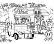paysage pour halloween adulte dessin à colorier