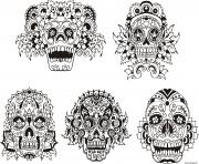 Coloriage halloween adulte tatouage calavera
