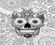 halloween adulte tete de mort par christopher beikmann dessin à colorier