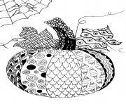 halloween adulte citrouille avec toile araignee dessin à colorier