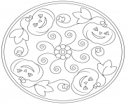 Coloriage halloween mandala facile citrouille simple