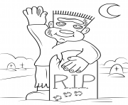 Coloriage cute frankenstein rip halloween