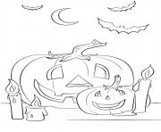 halloween citrouilles chandelle chauve souris dessin à colorier