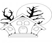 maison hantee halloween dessin à colorier