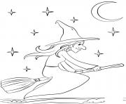 sorciere halloween dans les airs dessin à colorier