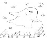 un gentil fantome halloween dessin à colorier