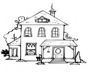 maison hantee halloween avec fantomes dessin à colorier