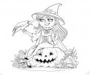 halloween gentille sorciere et son corbeau sur une citrouille hd dessin à colorier