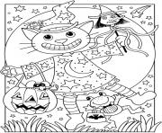 halloween facile chat citrouille dessin à colorier