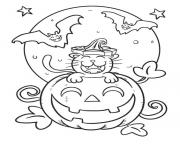 halloween citrouille souriant dessin à colorier
