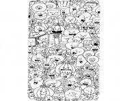 halloween doodle sorciere fantome citrouille chauve souris dessin à colorier