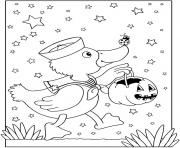 halloween facile canard avec une citrouille dessin à colorier