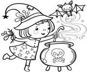 halloween fille petite sorciere dessin à colorier