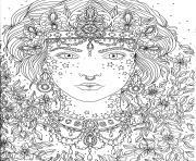 adulte princesse fleurs dessin à colorier