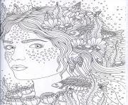 adulte complexe femme ocean poisson dessin à colorier