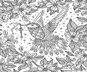 Coloriage adulte zentangle oiseau sabrina  dessin