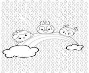 tsumtsum rainbow dessin à colorier