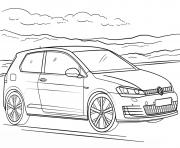Voiture volkswagen golf gti dessin à colorier