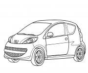Voiture Peugeot 107 dessin à colorier