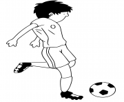 Coloriage cartoon joeur de foot frappe le ballon