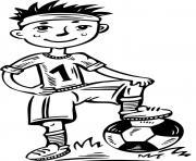 jeune joueur de foot dessin à colorier