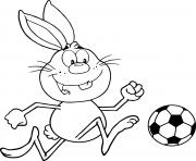 lapin qui joue au foot dessin à colorier