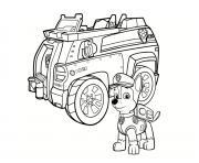chase de pat patrouille avec son camion dessin à colorier