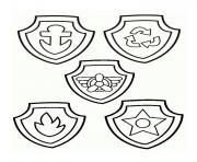 les badges de pat patrouille dessin à colorier