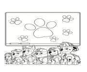 pat patrouille en classe de cours ecole dessin à colorier
