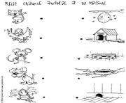 relie chaque animal a sa maison jeu a imprimer dessin à colorier