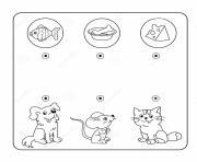 relie chaque animal a son repas jeu a imprimer dessin à colorier