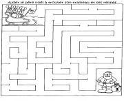 jeu pere noel labyrinthe noel gratuit imprimer dessin à colorier