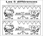 Coloriage jeux a imprimer difference hello kitty
