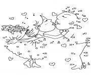 points a relier deux amoureux jeux a imprimer dessin à colorier