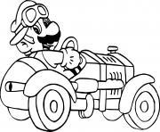 mario kart ancienne voiture dessin à colorier