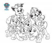 sourire des personnages de pat patrouille min dessin à colorier