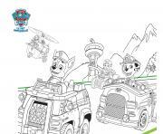 petit tour de ville en voiture pat patrouille min dessin à colorier