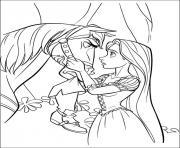 cheval maximus et princesse raiponce disney dessin à colorier