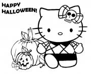 Coloriage joyeuse halloween hello kitty
