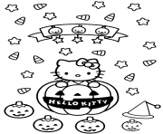 hello kitty halloween citrouilles dessin à colorier