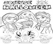 halloween reine des neiges elsa vaiana dessin à colorier