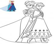 anna et elsa en superbe robes reine de neiges dessin à colorier
