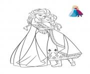 Coloriage reine des neiges elsa anne se donne un calin dessin