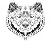 magnifique loup mandala animal adulte dessin à colorier