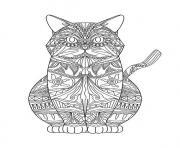 chat mandala detaille adulte dessin à colorier