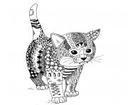 Coloriage chaton chat adulte mandala