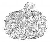 Coloriage citrouille halloween zentangle adulte