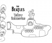 the beatles yellow submarine celebrite stars dessin à colorier